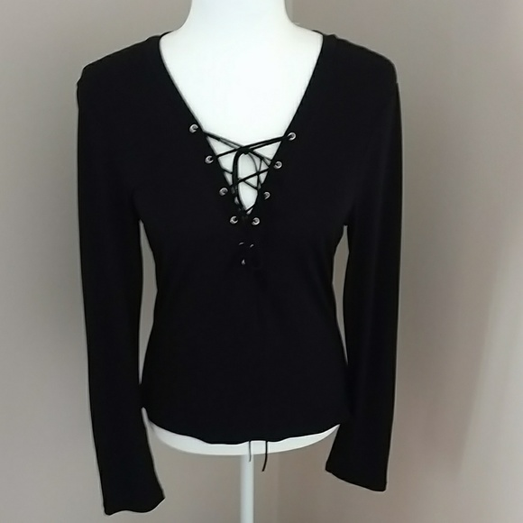 Frederick's of Hollywood Tops - Sexy Black Criss Cross string necklace blouse